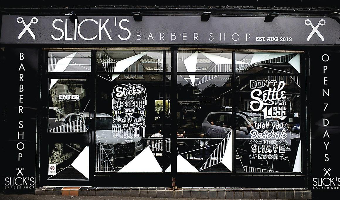 Slick's Barbershop environmental graphics