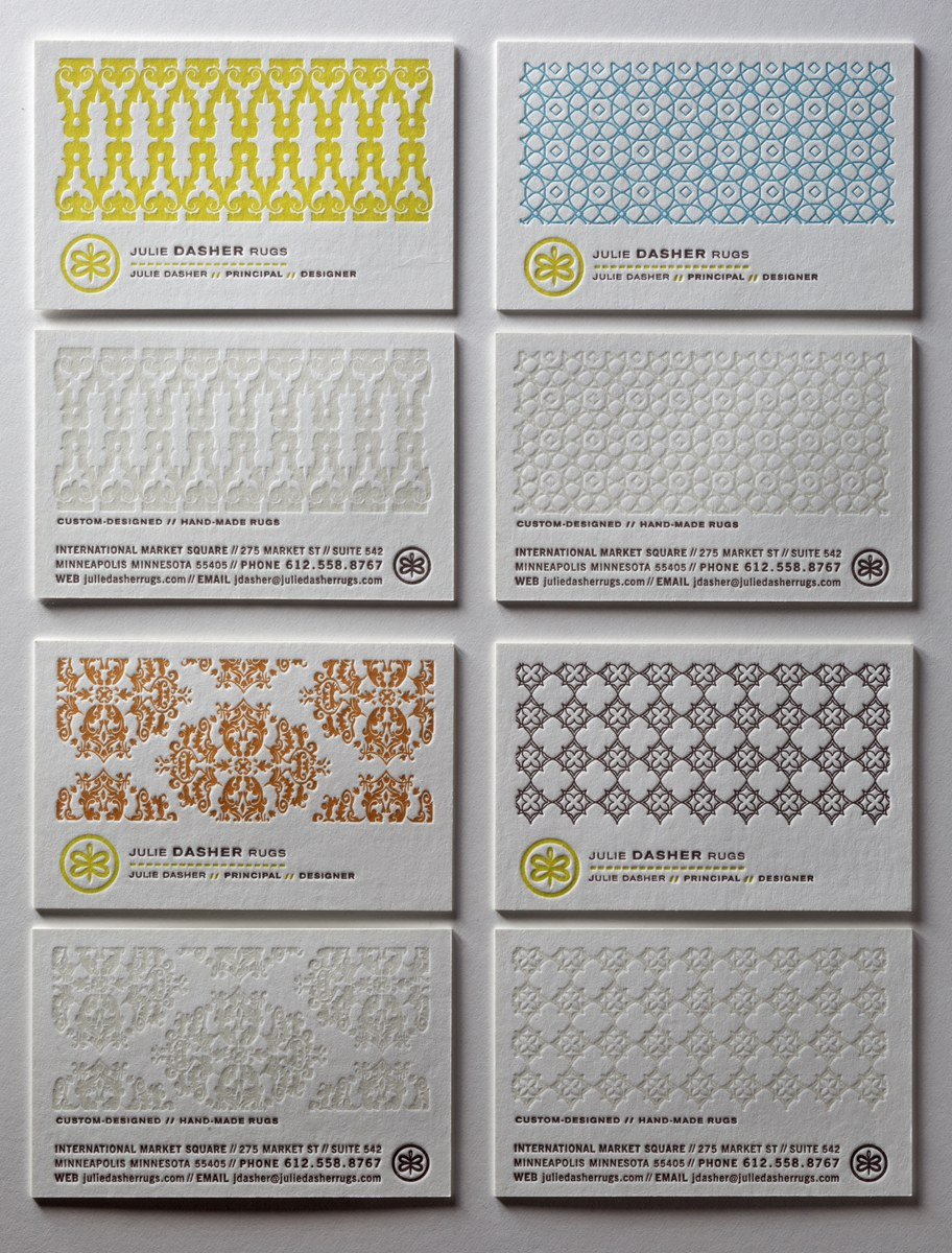 Julie Dasher Rugs business cards | Communication Arts