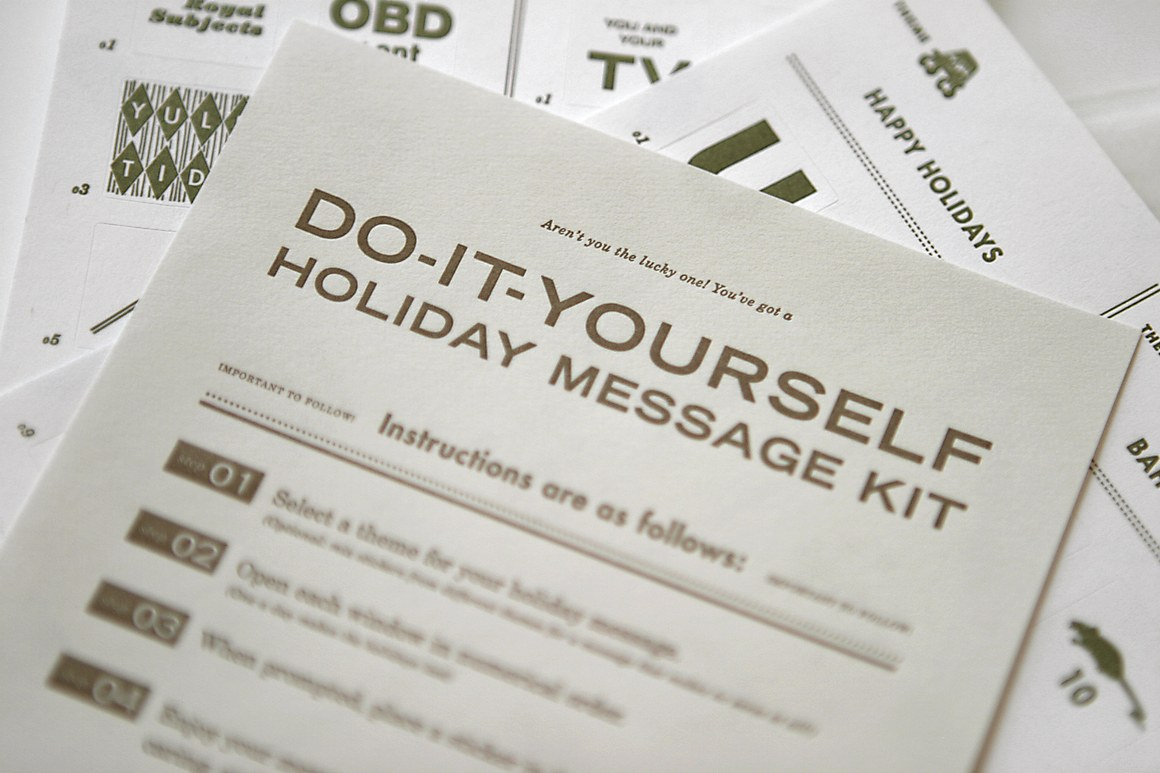 Do it yourself holiday message kit communication arts do it yourself holiday message kit solutioingenieria Image collections